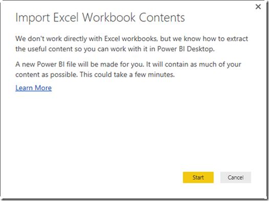 Power BI Desktop Import Excel Workbook Contents`