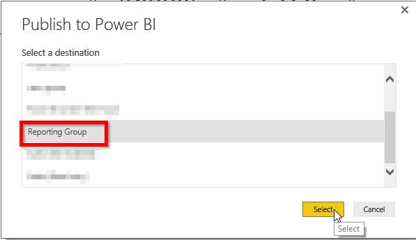 Pubish Power BI Desktop Report to Works