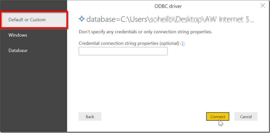 ODBC Driver and Connection String in Power BI