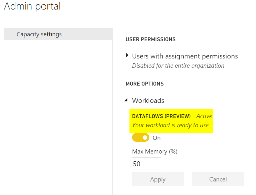 Enabling Dataflows in Power BI Service