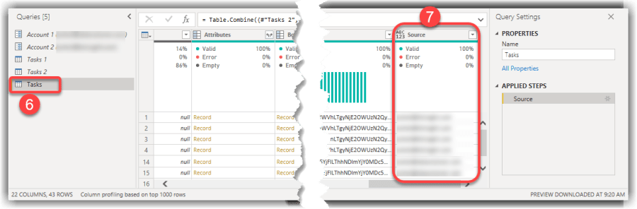 Checking the Source Column Exists in the Appended Query