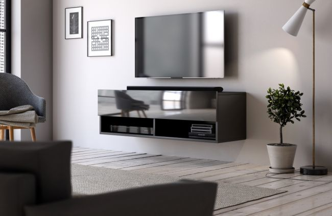 hangend tv meubel zwart hoogglans