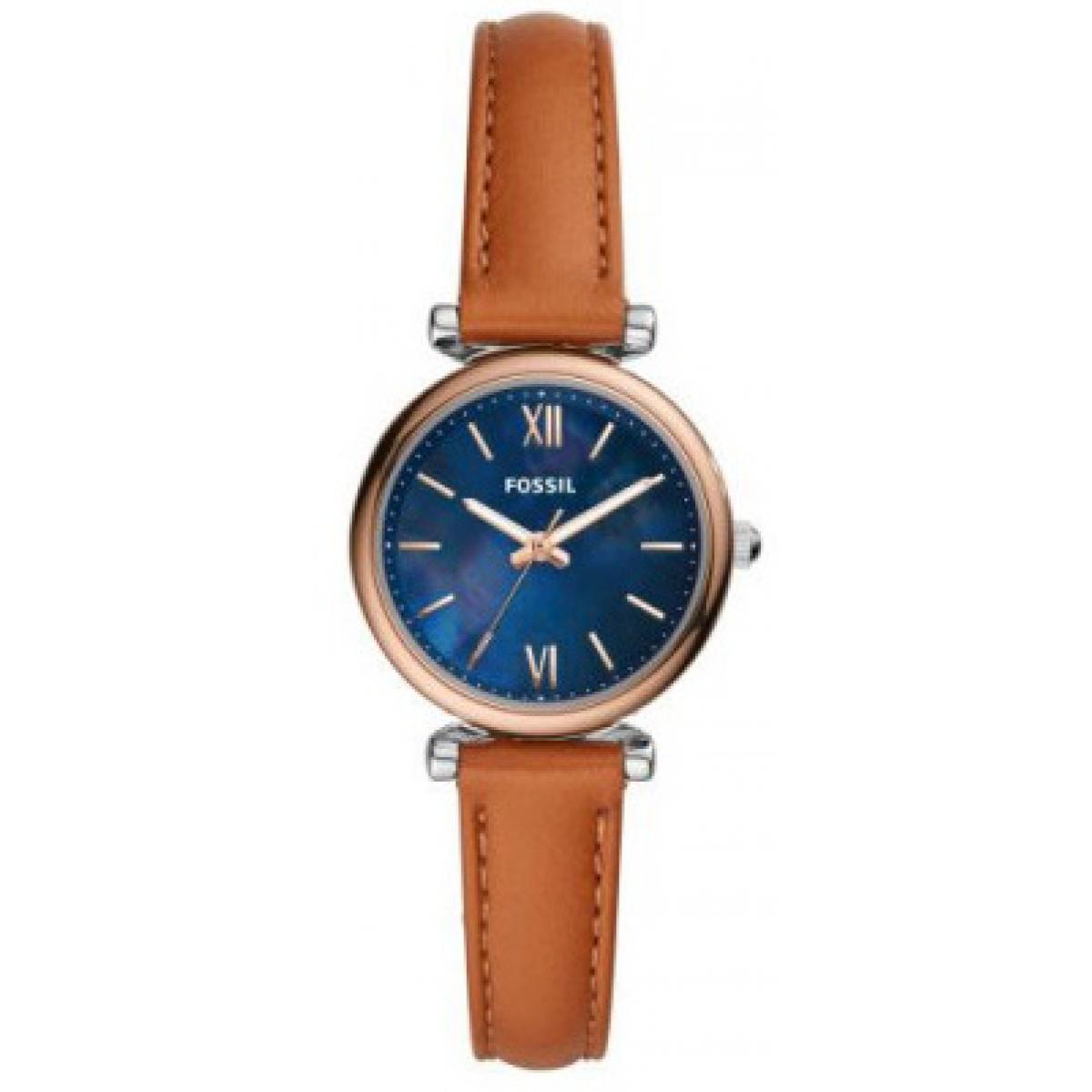 montre fossil es4701 carlie mini boitier acier bracelet cuir marron femme