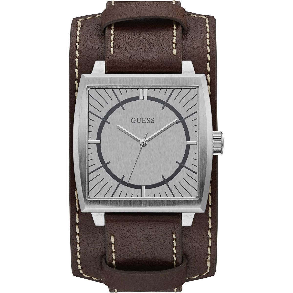 montre guess w1036g2 montre bracelet cuir marron homme