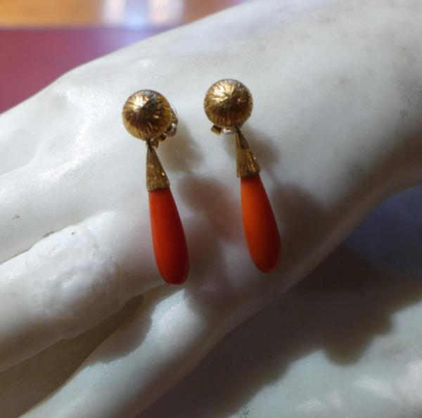 Photo de boucles d'oreilles corail
