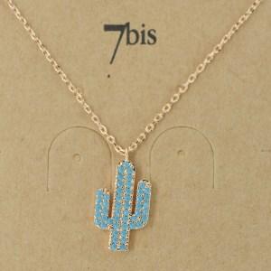 Bijoux 7bis Paris - Collier doré cactus Collection Oasis