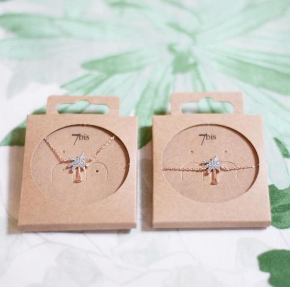 Bijoux 7bis Paris - Set de bijoux collier et bracelet doré palmier Collection Oasis