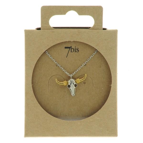 123801ARG Collier Tete-de-buffle Argent Indien Miniature