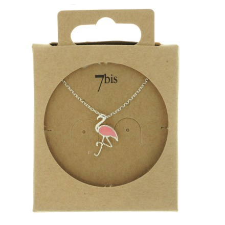 138560ARG Collier Flamant Argenté Émail Rose Collection Flamant Rose