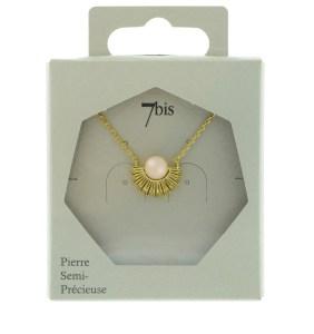 170539ROSDOR Collier Soleil Doré Quartz Rose Pierre Semi Précieuse
