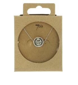 170555ARG Collier Médaille Argenté Message Mom Love You
