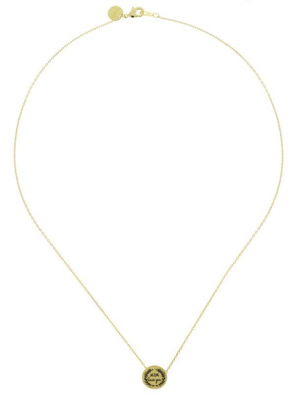 170555DOR Collier Médaille Doré Message Mom Love You