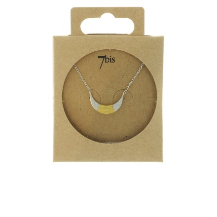170761ARG Collier Croissant De Lune Argenté Bicolore Géométrique