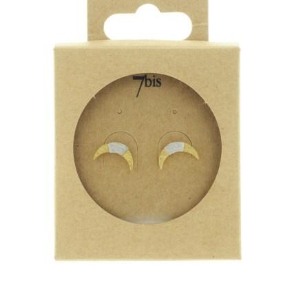 270761DOR Boucles D'oreilles Croissant De Lune Doré Bicolore Géométrique