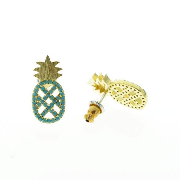 270763TURDOR Boucles D'oreilles Ananas Doré Strassé Turquoise