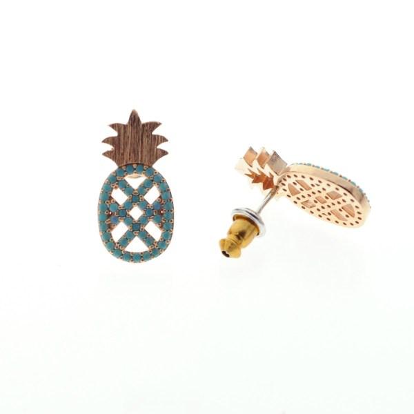 270763TURDORROS Boucles D'oreilles Ananas Doré Rosé Strassé Turquoise