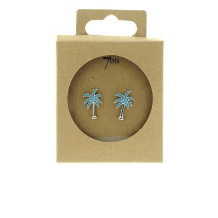 270765TURARG Boucles D'oreilles Palmier Argenté Strassé Turquoise