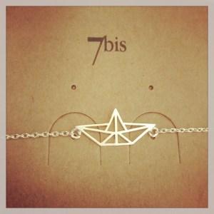 337223ARG Bracelet Bateau Geometrique Origami Pliage