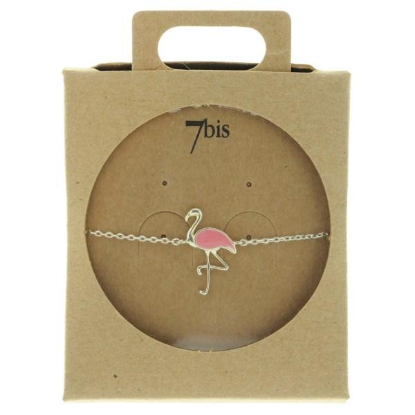 338560ARG Bracelet Flamant Argenté Émail Rose Collection Flamant Rose
