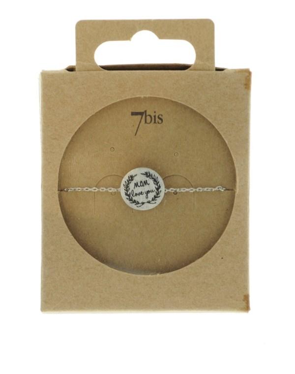 370555ARG Bracelet Médaille Argenté Message Mom Love You