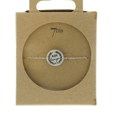 370555ARG Bracelet Médaille Argenté Message Mom Love You