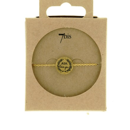 370555DOR Bracelet Médaille Doré Message Mom Love You
