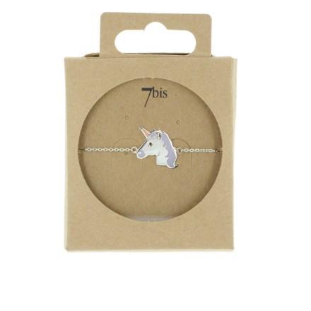 370627ARG Bracelet Licorne Argenté Crinière Email Parme