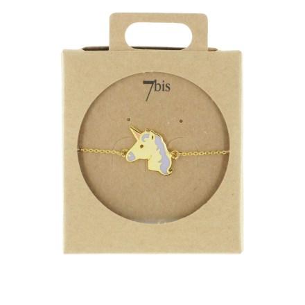 370627DOR Bracelet Licorne Doré Crinière Email Parme