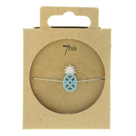 370763TURARG Bracelet Ananas Argenté Strassé Turquoise