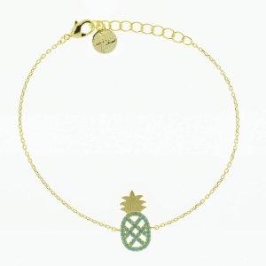 370763TURDOR Bracelet Ananas Doré Strassé Turquoise
