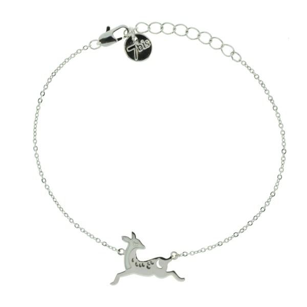 371128ARG Bracelet Biche Argenté Émail Lune