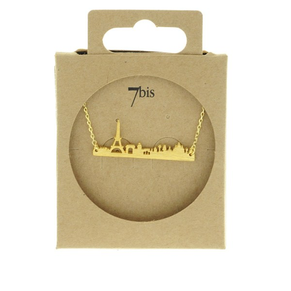 123796DOR Collier Skyline Doré Tour Eiffel Paris