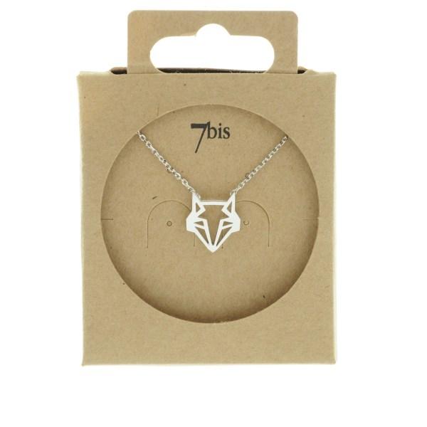 138257ARG Collier Renard Tête-animal Argent Géométrique