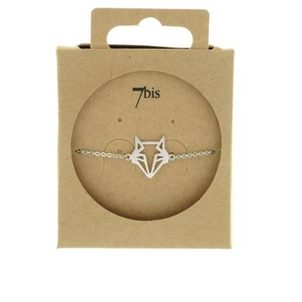 338257ARG Bracelet Renard Tête-animal Argent Géométrique