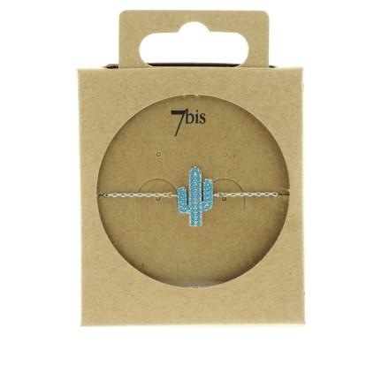 370764TURARG Bracelet Cactus Argenté Strassé Turquoise