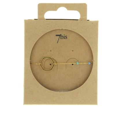 371002TUR Bracelet Hexagone Doré Chaine Fine Perles