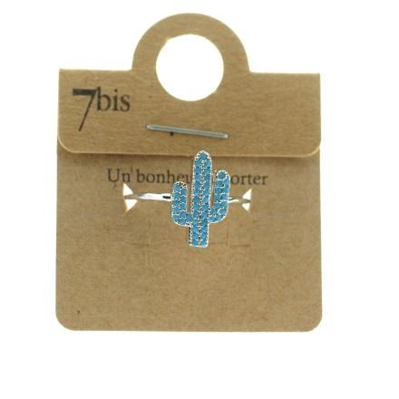 870764TURARG Bague Cactus Argenté Strassé Turquoise