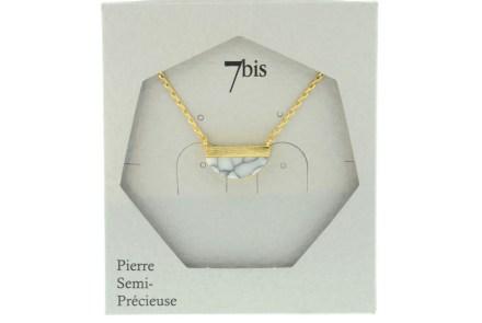 123920BLADOR Collier Demi Cercle Doré Blanc Pierre Semi-précieuse Howlite
