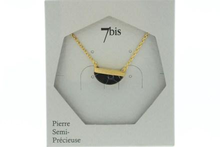 123920NOIDOR Collier Demi Cercle Doré Noir Pierre Semi-précieuse Howlite