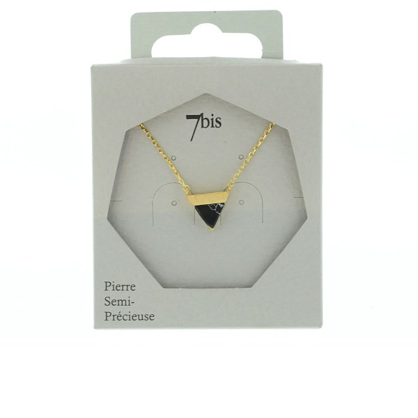 123924NOIDOR Collier Triangle Doré Noir Pierre Semi-précieuse Howlite