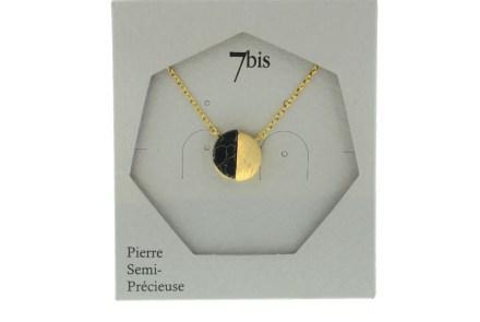 123926NOIDOR Collier Demi Cercle Fermé Doré Noir Pierre Semi-précieuse Howlite