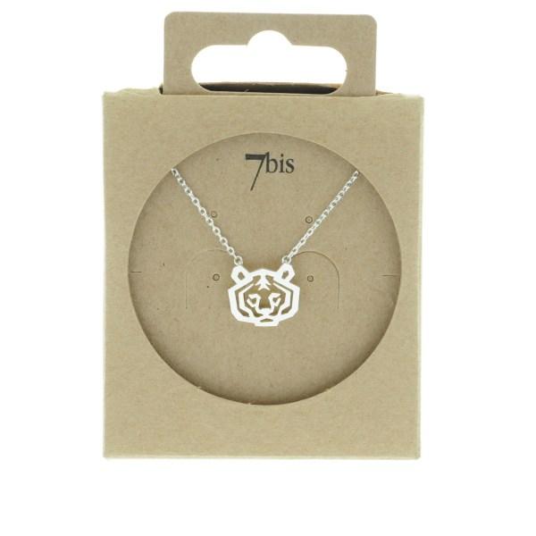 138259ARG Collier Tigre Argenté Tête-animal Géométrique