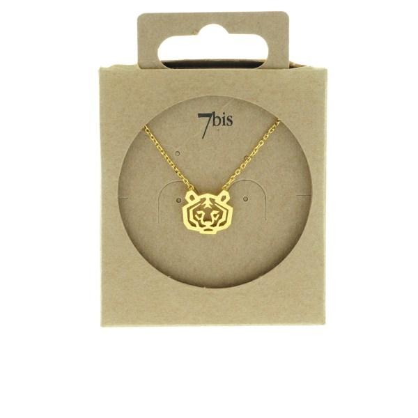 138259DOR Collier Tigre Doré Tête-animal Géométrique
