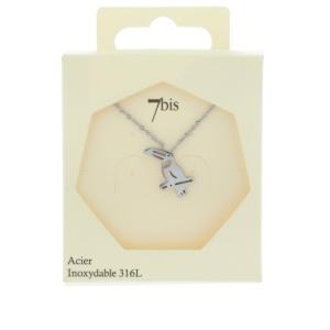 170561ARGINX Collier Toucan Plat Repercé Argenté Oiseau Acier Inoxydable
