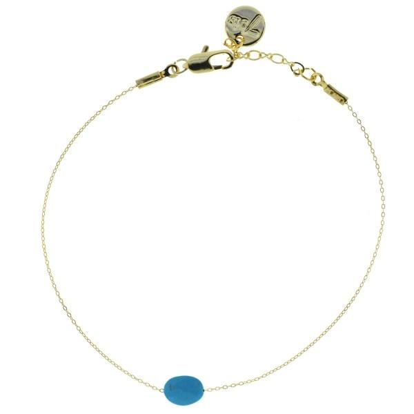 370874TUR Ovale Facetée Naturelle Turquoise Chaîne Fine Pierre