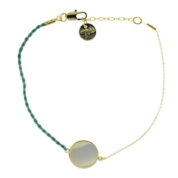 371001BLECLA Bracelet Pastille Ronde Doré Fil Torsadé Bleu Claire