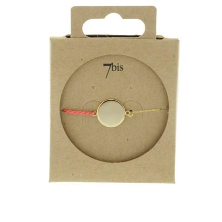 371001COR Bracelet Pastille Ronde Doré Fil Torsadé Corail