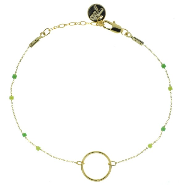 371003VER Bracelet Anneau Doré Perle Verte Chaîne Fine Miyuki