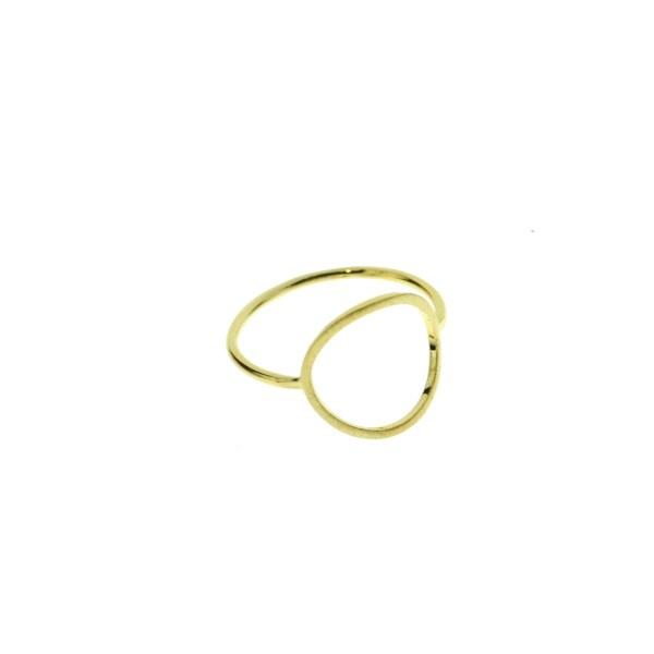 870076DOR Bague Cercle Doré Évidé Géométrique