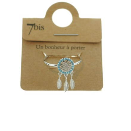 871152TURARG Bague Dreamcatch Turquoise Plumes Articulées Strass